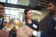 Businesspeople toasting glasses of champagne Stock Images