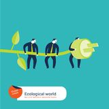 Businesspeople using green energy. Royalty Free Stock Images
