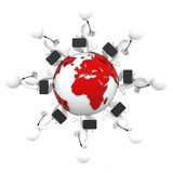 Businesspeople walking around earth globe. European and African side. Isolated Stock Photography