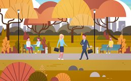 Businesspeople Walking Through Autumn Park Over People Having Rest Relaxing Sit On Bench And Communicate Outdoors. Flat Vector Illustration vector illustration