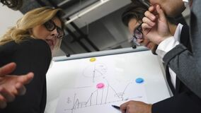 Businesspeople with whiteboard discussing strategy in a meeting stock video
