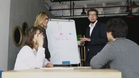 Businesspeople with whiteboard discussing strategy in a meeting stock video footage