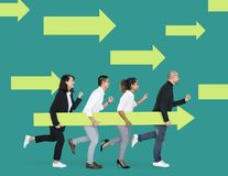Free Businesspeople With An Arrow Moving Forward Stock Images - 129255414