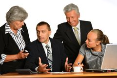 Businesspeople working with laptop Stock Image