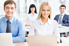 Businesspeople working at meeting Royalty Free Stock Photos