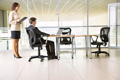 Businesspeople working at meeting Stock Photo