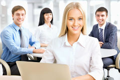 Businesspeople working at meeting Royalty Free Stock Photo