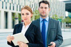 Businesspeople working outdoor royalty free stock images