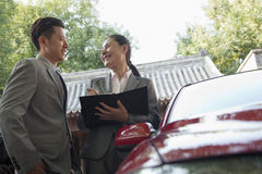 Businesspeople Working Outdoors Stock Photo