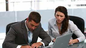 Businesspeople working together. Businesspeople working at a computer in a office stock footage