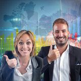 Businesspeople world success Stock Image