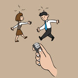 Businesspeple manipulated. Business people under radio control cartoon vector Royalty Free Stock Photo