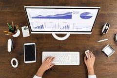 Businessperson που αναλύει τη στατιστική γραφική παράσταση στον υπολογιστή Στοκ φωτογραφίες με δικαίωμα ελεύθερης χρήσης