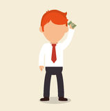 Businessperson character with bills Stock Photos