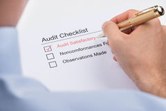 Businessperson Filling Audit Checklist Form Royalty Free Stock Photos