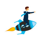 Businessperson flying avatar in rocket Stock Photos