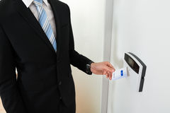 Businessperson Hands Holding Keycard stock foto's