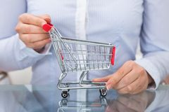 Businessperson  holding shopping cart. Close-up Of Businessperson  Holding Empty Shopping Cart Stock Images