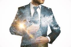 Businessperson i utrymme Arkivfoto