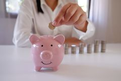 Businessperson Inserting Coins In Piggy Bank With Stack Of Coins Over The Desk. stock photo