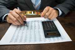 Businessperson inspecting financial data Stock Photography