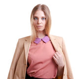 Businessperson in jacket over white background Royalty Free Stock Photography