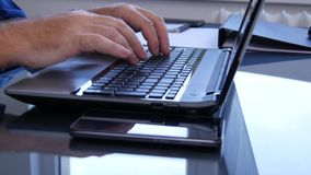 Businessperson with a Laptop in Interior Office Enter Data Using Keypad.  stock video footage