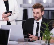 Businessperson in office connected on internet network. concept of partnership and teamwork Stock Image