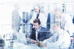 Businessperson in office connected on internet network. concept of partnership and teamwork Royalty Free Stock Images