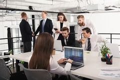 Businessperson in office connected on internet network. concept of partnership and teamwork. Businessperson in a modern office connected on internet network Stock Photo