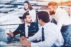 Businessperson in office connected on internet network. concept of partnership and teamwork. Businessperson in a modern office connected on internet network Royalty Free Stock Image