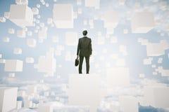 Businessperson op abstracte kubus stock illustratie