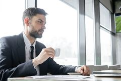 Businessperson op bedrijfslunch bij restaurantzitting het drinken koffie die thougthful laptop bekijken stock fotografie