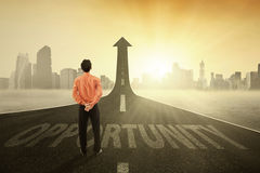Businessperson on the opportunity road Stock Images