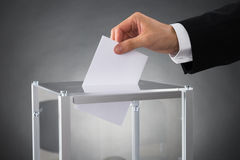 Businessperson Putting Ballot In Box. Close-up Of Businessperson Hands Putting Ballot In Box At Desk Royalty Free Stock Photography