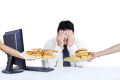 Businessperson refuse fast food Royalty Free Stock Photos