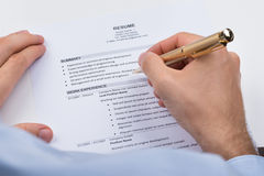 Businessperson With Resume And Pen Royalty Free Stock Photos