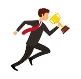 Businessperson running avatar with trophy Stock Photography