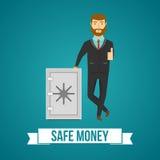 Businessperson And Safe Design stock illustrationer