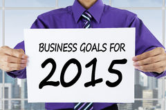 Businessperson showing business goals for 2015 Royalty Free Stock Photos