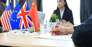Businessperson Signing Contract. Diversity People Talk International Conference Partnership. Royalty Free Stock Photo