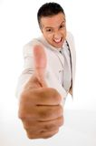 Businessperson with thumb up Royalty Free Stock Photos