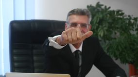Businessperson Thumbs Up Hand Gestures with office Background.  stock video footage