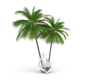 Businessperson under palms. 3d illustration of cartoon businessperson with open laptop sat under palm trees, white studio background Royalty Free Stock Images