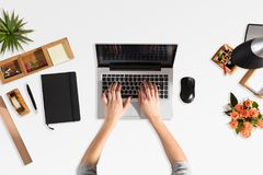Businessperson Using Laptop With Blank Screen stock images