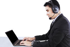 Businessperson working as an operator Royalty Free Stock Images