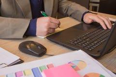 Businesspersons анализируя отчет, концепцию эффективности бизнеса Корпоративный бизнесмен работая на столе офиса, он использует c Стоковые Фото