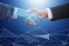 BusinesspersonShaking Hand With Digital partner arkivfoton