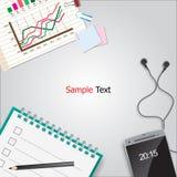 businessplan en smartphone op de grijze achtergrond Royalty-vrije Stock Afbeelding