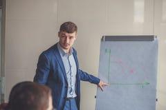 businessplan op flipchart door CEO aan werknemers wordt verklaard die Stock Afbeeldingen